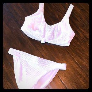 Hollister White Ribbed Bikini - Top: Lg, Bottom: M